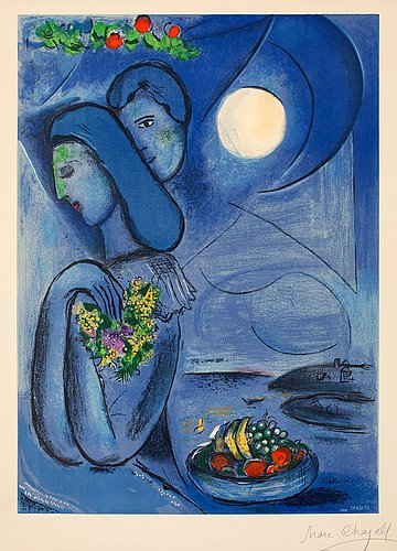 """MARC CHAGALL (After), """"Saint-Jean-Cap-Ferrat"""". - Bukowskis Chagall Ferrat"""