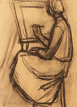 211. Helene Schjerfbeck, Woman at the easel.
