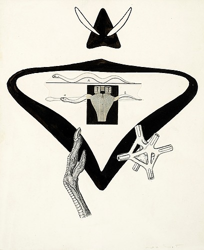 "Max ernst, illustration for b. pérets ""la brébis galante""."