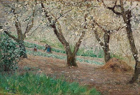 """Anshelm schultzberg, """"blommande fruktträd, surèsnes"""" (blossoming fruit trees, surèsnes)."""