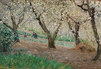 """21. ANSHELM SCHULTZBERG, """"Blommande fruktträd, Surèsnes"""" (Blossoming fruit trees, Surèsnes)."""