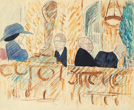 "Hilding linnqvist, ""motiv från berns salonger"" (motif from berns salons, stockholm)."