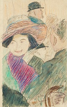 "HILDING LINNQVIST, ""Från Berns Salonger"" (From Berns Salons, Stockholm). Executed around 1911. Mixed media on paper 20 x 12 cm."