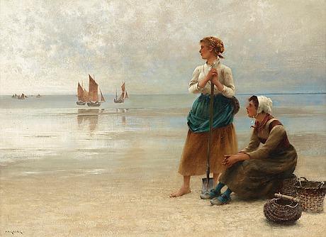 "August hagborg, ""ostronplockerskor, bretagne"" (girls gathering oysters, brittany)."