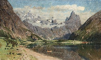 205. Adelsteen Normann, Landscape with a fjord.