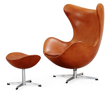 an arne jacobsen brown leather 39 egg 39 chair and ottoman fritz hansen denmark 1963 bukowskis. Black Bedroom Furniture Sets. Home Design Ideas