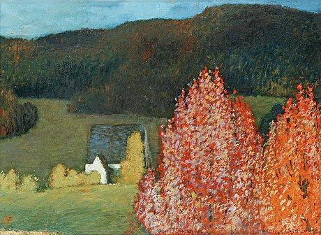 Helmer osslund, autumn landscape with trees.