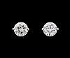 A pair of brilliant cut diamond ear studs, each app. 1 cts (tot. 2.12 cts).
