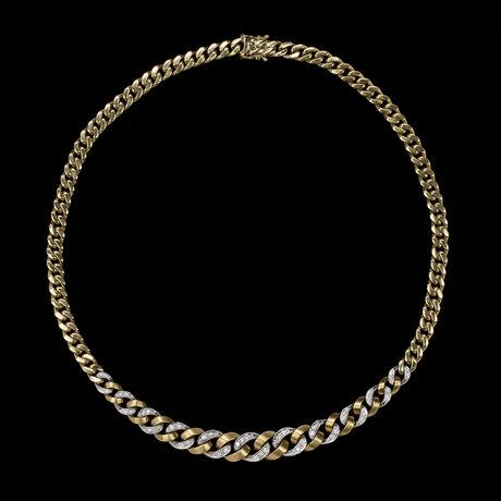 Necklace, set with brilliant cut diamonds, tot. app. 0.80 cts.