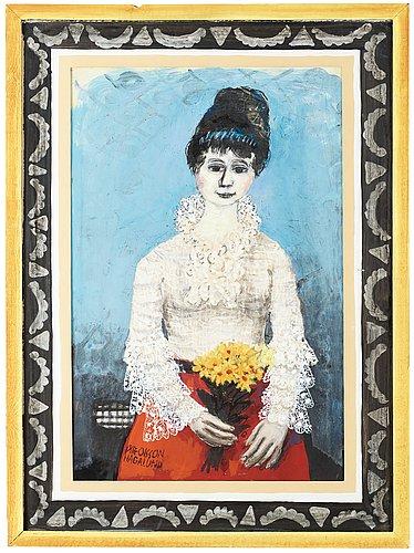 Olle olsson-hagalund, flicka med blombukett och spetsblus.