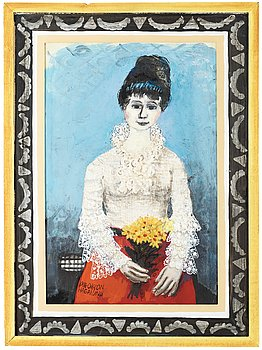 OLLE OLSSON-HAGALUND, Girl with flowers. Signed Olle Olsson- Hagalund. Mixed media on paper panel 7...
