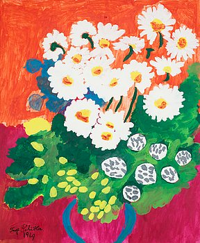 INGE SCHIÖLER, Flowers. Signed Inge Schiöler and dated 1969. Gouache 60.5 x 50 cm....