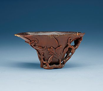 1302. A rhinoserous libation cup, Qing dynasty, Kangxi (1662-1722).