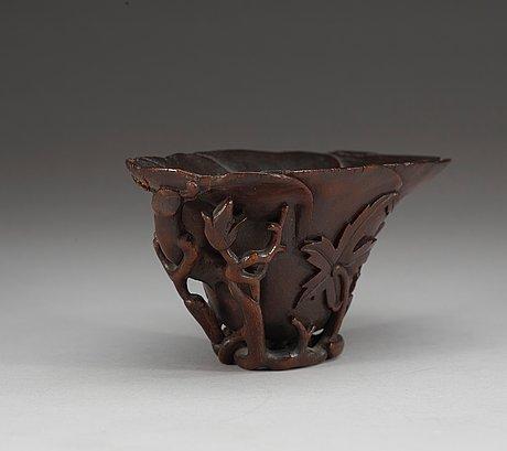 A rhinoserous libation cup, qing dynasty, kangxi (1662-1722).