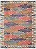 "Carpet. ""blå heden"". rölakan (flat weave). 347,5 x 255,5 cm. signed mmf (märta måås-fjetterström)."