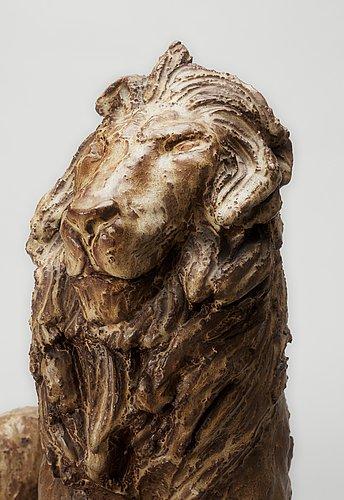 A michael schilkin stoneware sculpture of a lion, arabia, finland, 1940's.