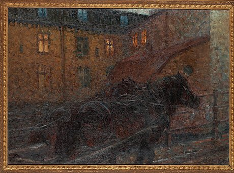 """Nils kreuger, """"draghästar i uppförsbacke"""" / """"hästar, som vattnas, stadsgården""""."""