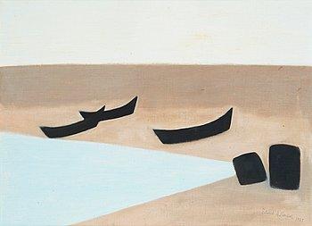"165. AXEL KARGEL, ""Båtar på stranden"" (Grönvik, Djupvik, Öland)."