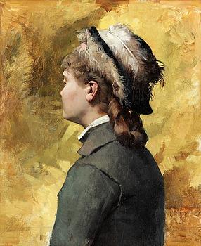 "214. Albert Edelfelt, ""Ung kvinna i grått"" (Young woman in grey)."