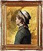 "Albert edelfelt, ""ung kvinna i grått"" (young woman in grey)."