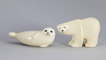 FIGURINER, 2 st, keramik, Lisa Larson, Gustavsberg.