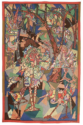 Tapestry. gobelängteknik (tapestry weave). signed gynning -50 pf aubusson (lars g. 1950, pinton frères). 228 x 146,5 cm.