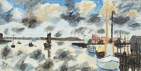 """Ragnar sandberg, """"utanför fiskeläget"""" (out side the fishing location)."""