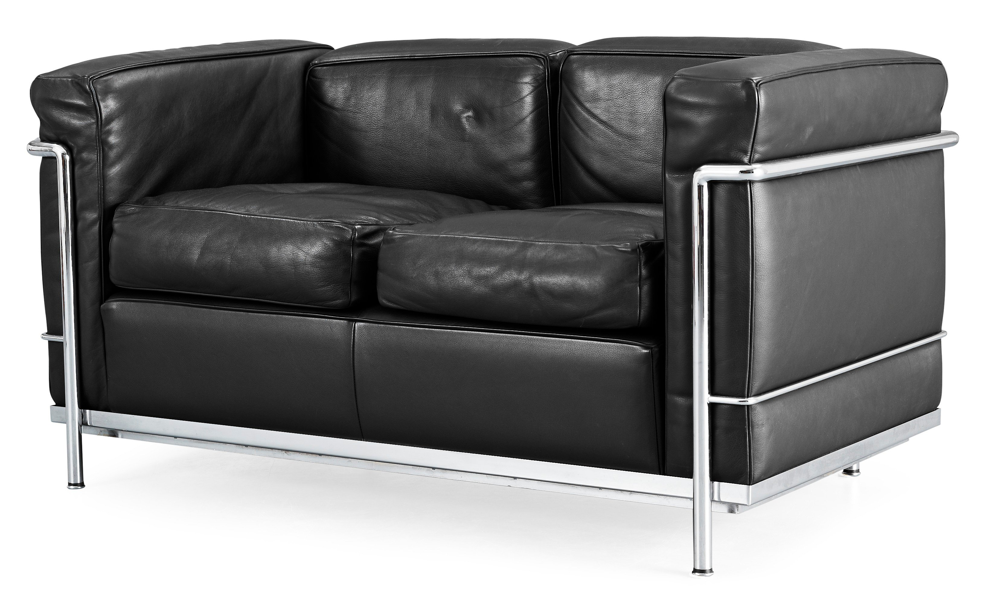 A Le Corbusier Lc 2 Two Seated Black Leather And Chromed Steel
