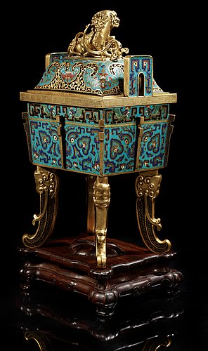 A cloisonne censer with cover, qing dynasty, qinalong (1736-95).