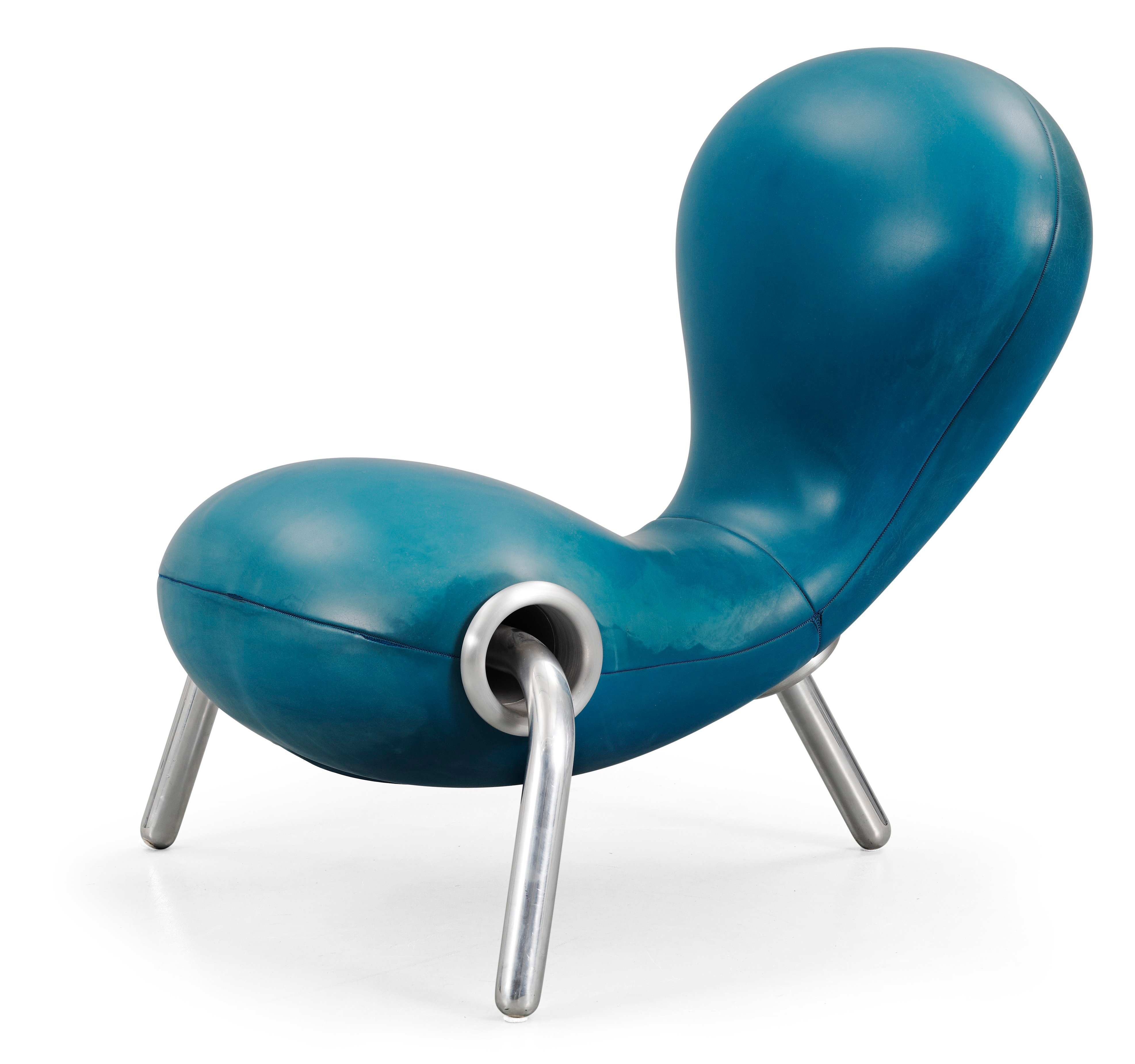 A marc newson 39 blue neoprene embryo chair by id e japan for Embryo chair
