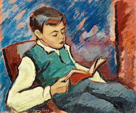 Agnes cleve, läsande gosse (mysig stund).
