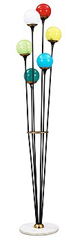 14. A black lacquered iron, brass and marble floor lamp, attributed to Stilnovo, Italy 1950's.