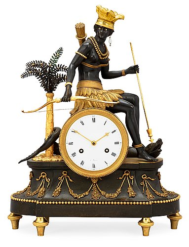 "A french circa 1800 mantel clock ""au sauvage, l'amerique""."