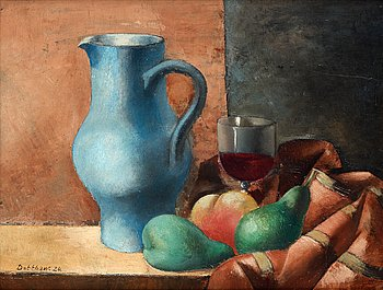 Still life with blue pitcher and wine glass.