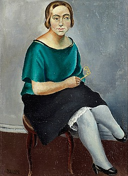 TYRA LUNDGREN, Sitting woman with glasses. Signed Tyra Lundgren and dated 1921. Canvas 34 x 25 cm.