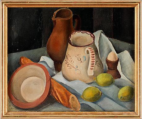 Knut lundström, still life with jar and lemons.