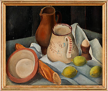 Still life with jar and lemons.