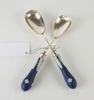 Serveringsbestick, två par, nysilver resp silver, england.