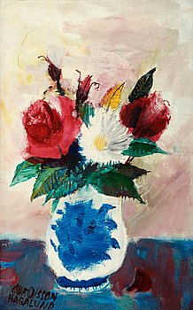 OLLE OLSSON-HAGALUND, Flowers in vase. Signed Olle Olsson Hagalund. Paper panel 27 x 17 cm.