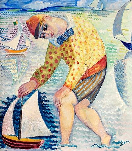 """Isaac grünewald, """"gosse med segelbåt"""" (boy with sailing boat)."""