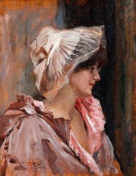 202. Albert Edelfelt, PARISIAN LADY IN  PEIGNOIR.