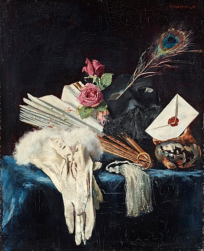 Alf wallander, still life with fan, roses and peacock feather.