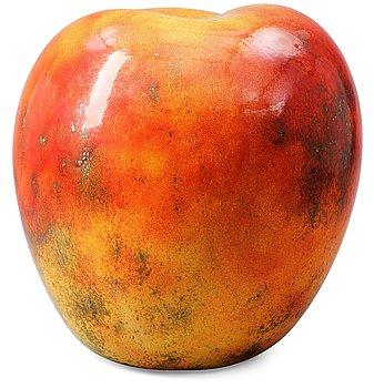 840. A Hans Hedberg faience sculpture of an apple, Biot, France.