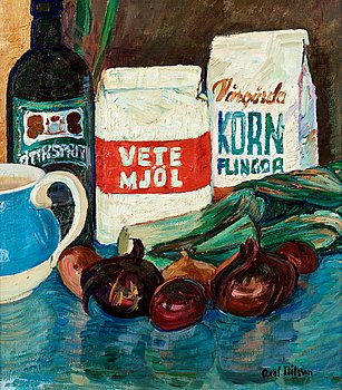 "AXEL NILSSON, ""Stilleben med lökar"" (Still life with onions). Signed Axel Nilsson. Panel 44 x 39 cm."