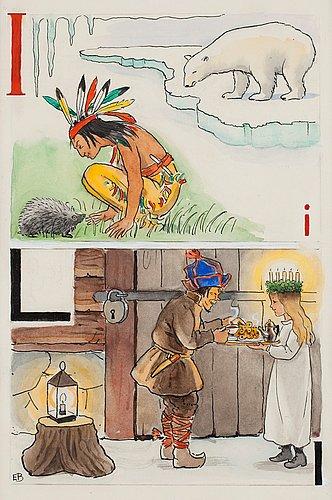 """Elsa beskow, """"i-indian och l-lucia""""."""