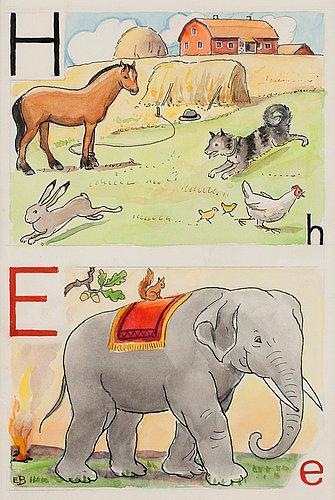 """Elsa beskow, """"h-häst och e-elefant""""."""