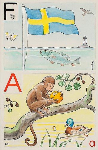 """Elsa beskow, """"f-flagga och a-apa""""."""
