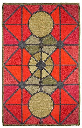 Rug. rölakan (flat weave). signed s. sweden around 1950-60s.