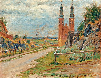 """6. Nils Kreuger, """"Lundagatan"""" (Lunda street with a view over the Högalid church)."""