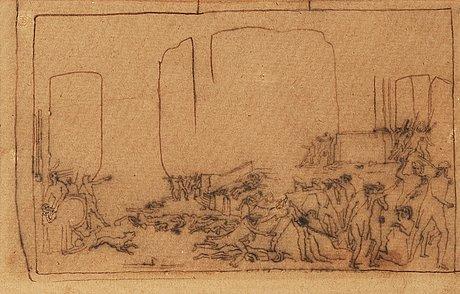 """Carl fredrik hill, """"revolutionsscen ii"""" (revolution scene ii / the battle in front of saint-roch)."""
